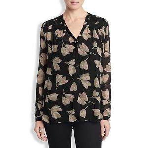 Lucky Brand Black Mixed Floral Blouse Top